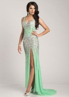 Envious Couture by Karishma Creations 3687 Sequin Evening Gown #CrushingonRissyRoos #EnviousCouture #green #glitter #sequins #gradation #slitfront #cute #fashion #RissyRoos #style #prominspiration #prom #prom2k15 #promfashion #partydress #party #fun #white