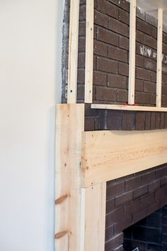 Fireplace Makeover • Le Bois Home Reface Brick Fireplace, Brick Fireplace Remodel, Fireplace Frame, Fireplace Update, Brick Fireplace Makeover, Home Fireplace, Fireplace Surrounds, Fireplace Design, Fireplace Mantels