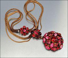Czech Art Deco Necklace Red Glass Rhinestone Brass Enamel Flower Vintage 1920s Jewelry