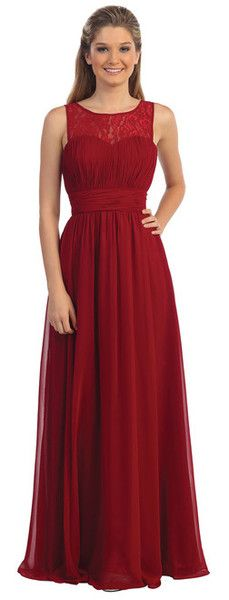 Affordable Long Chiffon and Lace Corset Bridesmaid Dress with Ruched and Lace Bodice Navy, Burgundy, Silver, Peach