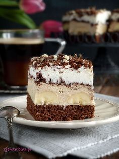 "Ciasto ""Coffee-banana"" Polish Desserts, Cookie Desserts, Just Desserts, Delicious Desserts, Baking Recipes, Cake Recipes, Dessert Recipes, Russian Cakes, Cupcake Cakes"