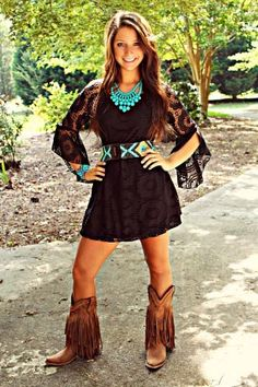 picture perfect lace dress in black from Southern Fried Chics. Saved to Dresses. Cowgirl Outfits, Western Outfits, Western Wear, Cowgirl Dresses, Western Girl, Girl Fashion, Fashion Outfits, Womens Fashion, Fashion Clothes