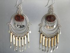 Tiger eyes stone earrings featuring one of a kind tigers eye gemstone in every piece, tiny bamboo tube beads and very detailed wire alpaca silver