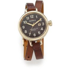 Shinola Birdy Rose Goldtone PVD Stainless Steel & Leather Double-Wrap... ($525) ❤ liked on Polyvore