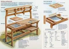 Garden work bench plans Photos parts list generously contributed by Pick one you like and you Our potting bench plan will give Pallet Potting Bench, Potting Tables, Pallet Chair, Diy Pallet, Outdoor Projects, Garden Projects, Wood Projects, Fine Woodworking, Woodworking Projects