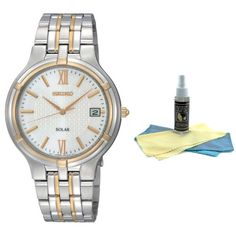 Seiko SNE066 Men's Two Tone Solar Powered Silver Dial Watch with 30ml Ultimate Watch Cleaning Kit