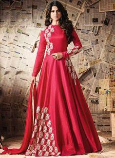 Hot Pink Embroidery Work Silk Chiffon Designer Long Fancy Anarkali Suit