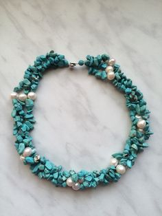 Beautiful Turquoise multi strand statement necklace with big akoya pearls will…