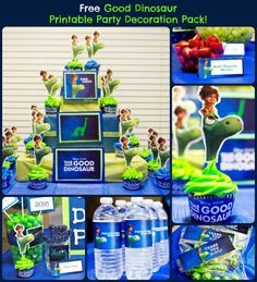 The Free Good Dinosaur Printable Party Pack includes Invitations Thank You Cards Food Tent 8 x 10 Welcome Sign Water Bottle Wrapper Birthday Party Hat Goodie Bag / Candy Bag Toppers Cupcake Wrapper Cupcake Topper DIY Cupcake Tower Printable and Instructions Birthday Party Gift Idea's (Click on the image download}