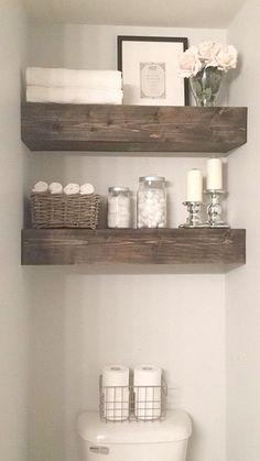 Rustic Wood Beam Bathroom Shelves