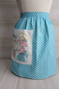 Vintage Pink Poodle Half Apron with Polka Dots by theloftonbroome on Etsy