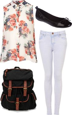 Eleanor inspired first day of school outfit by eleanorcalder-style featuring slip on shoes Floral print shirt / High waisted skinny jeans / Miss KG slip on shoes, $31 / Ecote rucksack bag