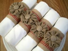 If I can put the napkins at the table before the ceremony starts I will be making some sort of napkin ring with burlap, apple ribbon and a fall leaf!! I'm starting to get all the fine details figured out :)