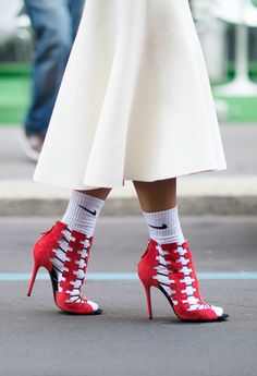 Worst Application Of Normcore Principles Those red Aperlai heels are amazing but look insane with Nike socks. Stop. Photo: Youngjun Koo/I'M KOO