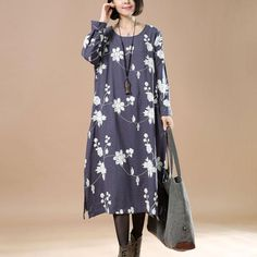 Spring Retro Linen Embroidered Loose Gray Blue Dress