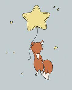 Fox Nursery Art -- Fox Star Balloon -- Woodland Nursery Art -- Fox Art -- Children Art, Kids Wall Art by SweetMelodyDesigns on Etsy https://www.etsy.com/listing/182677756/fox-nursery-art-fox-star-balloon