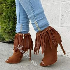 Shoespie - Shoespie Shoespie Tassels Side Zipper Ankle Boots - AdoreWe.com