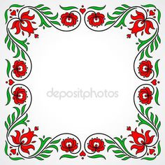 Empty frame with traditional Hungarian floral motives — Stock Illusztráció Chain Stitch Embroidery, Learn Embroidery, Embroidery Stitches, Embroidery Designs, Floral Embroidery, Hand Embroidery, Stitch Head, Hungarian Embroidery, Straight Stitch