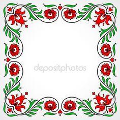 Letöltés - Empty frame with traditional Hungarian floral motives — Stock Illusztráció #76145153