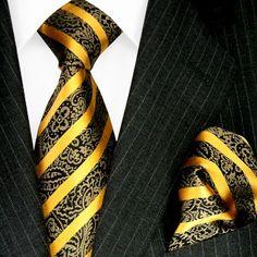 LORENZO CANA - Luxury Italian 100% Silk Tie Set Necktie with Hanky Gold Brown Baroque - 84327