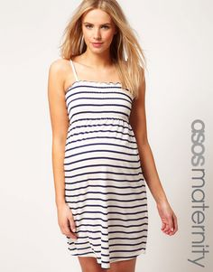 ASOS Maternity Sundress In Stripe With Tie Shoulders
