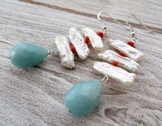 Biwa pearl earrings with red coral, light blue amazonite earrings, 925 sterling silver earrings, dangle earrings, gemstone jewelry, gioielli