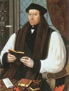 Thomas Cranmer (1489-1556), made Archbishop of Canterbury by Henry VIII. He introduced the Book of Common Prayer in 1549 during Edward VI's reign. Fell out of favor early in the reign of Mary I, who had him executed for treason and heresy. He renounced his Protestant beliefs, then recanted... several times. In the end, he affirmed his Protestant faith while he was being burned.He is a bit of a hero of mine. His book of Common Prayer is something of a literary masterpiece.