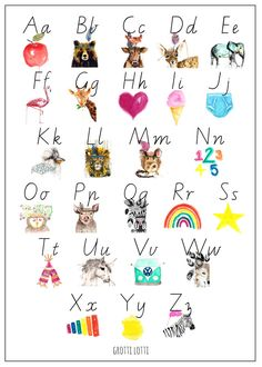 GROTTI LOTTI alphabet poster print This unique GROTTI LOTTI alphabet wall chart is equally as rad blu tacked to the wall of your little ones room as it is all framed up. There are 2 ways to learn t…