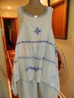 Magnolia Cotton Embroidered Pearl Shell Tunic Resurrected Couture