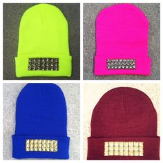 Studded Beanie Hat - Neon Yellow, Lavender, Hot Pink, Bubblegum Pink, Royal Blue Olive Green & Burgundy
