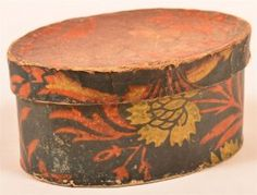 PA Wallpaper Covered Oval Trinket Box