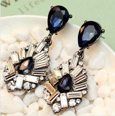exquisite Women's fashion earrings New arrival brand sweet metal with gems crystal earring for women girls Big Gold Hoop Earrings, Moon Earrings, Blue Earrings, Crystal Earrings, Crystal Rhinestone, Statement Earrings, Stud Earring, Cheap Fashion Jewelry, Cheap Earrings
