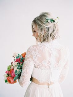half flower crown of greenery paired with two piece wedding dress and blush skirt. bridal hairstyle with short hair. Photo by Mallory Dawn. Ethereal Styled Bridal Shoot
