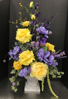 1353 best floral arrangements images on pinterest in 2018 floral spring purple and yellow in urn 2017 by andrea spring flower arrangements silk floral arrangements mightylinksfo