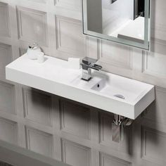 Shop the Valencia Wall Hung Polymarble Basin with Intergrated Shelf - Wide, features a minimalist design that blends subtly into all types of spaces. Guest Toilet, Downstairs Toilet, Cloakroom Sink, Bathroom Essentials, Small Bathroom, Bathrooms, Bathroom Ideas, Bathroom Inspiration, Minimalist Design