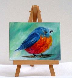 Small Red and Blue Bird original 3x4 oil painting by valdasfineart  SOLD