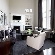 Inspired drapes love the height and drama they add!! Living Rooms   Family Rooms   Jane Lockhart Interior Design