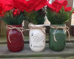 Set of 3 Pint Size Painted and Distressed Christmas Themed Mason Jars. Painted Mason Jars. Distressed Mason Jars. Rustic Christmas Decor. on Etsy, $16.50