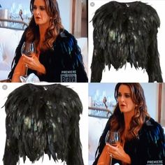 Kyle Richards Black Feather Jacket Season 7 Episode 1 Real Housewives of Beverly Hills http://www.bigblondehair.com/real-housewives/real-housewives-of-beverly-hills-season-7-episode-1-fashion/