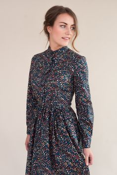 Long sleeved dress, handmade in a floral Liberty of London fabric