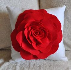 Wouldn't this be amazing on a black settee!!! Red Rose on White Pillow 14x14.