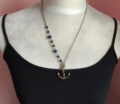 Anchor's Away Nautical Brass Charm Beaded Necklace by Beadix, $8.99