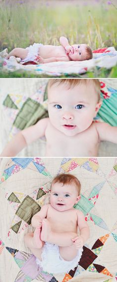 Using an vintage quilt will be perfect for the family photo shoot! I have a vintage quilt we received as an anniversary present.