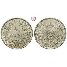 Deutsches Kaiserreich, 1/2 Mark 1913, D, vz-st, J. 16: 1/2 Mark 1913 D. J. 16; vorzüglich-stempelfrisch 22,00€ #coins