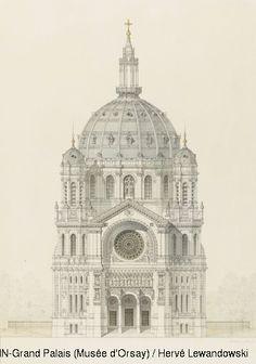 Victor Baltard,Church of Saint Augustin, Paris, elevation of the main facade,© RMN (Musée d'Orsay) / Hervé Lewandowski