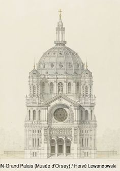 Victor Baltard,Church of Saint Augustin, Paris, elevation of the main facade,© RMN (Musée d'Orsay) / Hervé Lewandowski