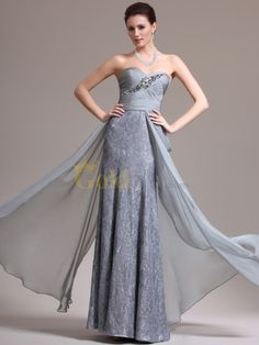 [US$207.00] Crystal Embellished Crisscross Chiffon and Lace Column Evening Dress