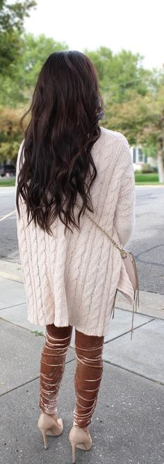 Dark brown hair with waves. Cable knit sweater and velvet leggings with nude pumps and crossbody. Holiday Fall / Christmas winter outfit inspiration. Womens fashion.