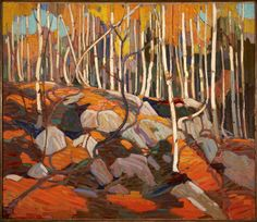 "Thomas John ""Tom"" Thomson was an influential Canadian artist of the early century. He directly influenced a group of Canadian painters that would come to be known as the Group of Seven. (Wikipedia) (""The Birch Grove"" by Tom Thompson) Emily Carr, Group Of Seven Artists, Group Of Seven Paintings, Landscape Quilts, Landscape Art, Landscape Paintings, Canadian Painters, Canadian Artists, Art Gallery Of Hamilton"