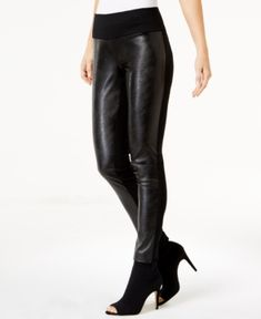 INC Petite Faux-Leather-Contrast Skinny Pants, Created for Macy's - Black 16P